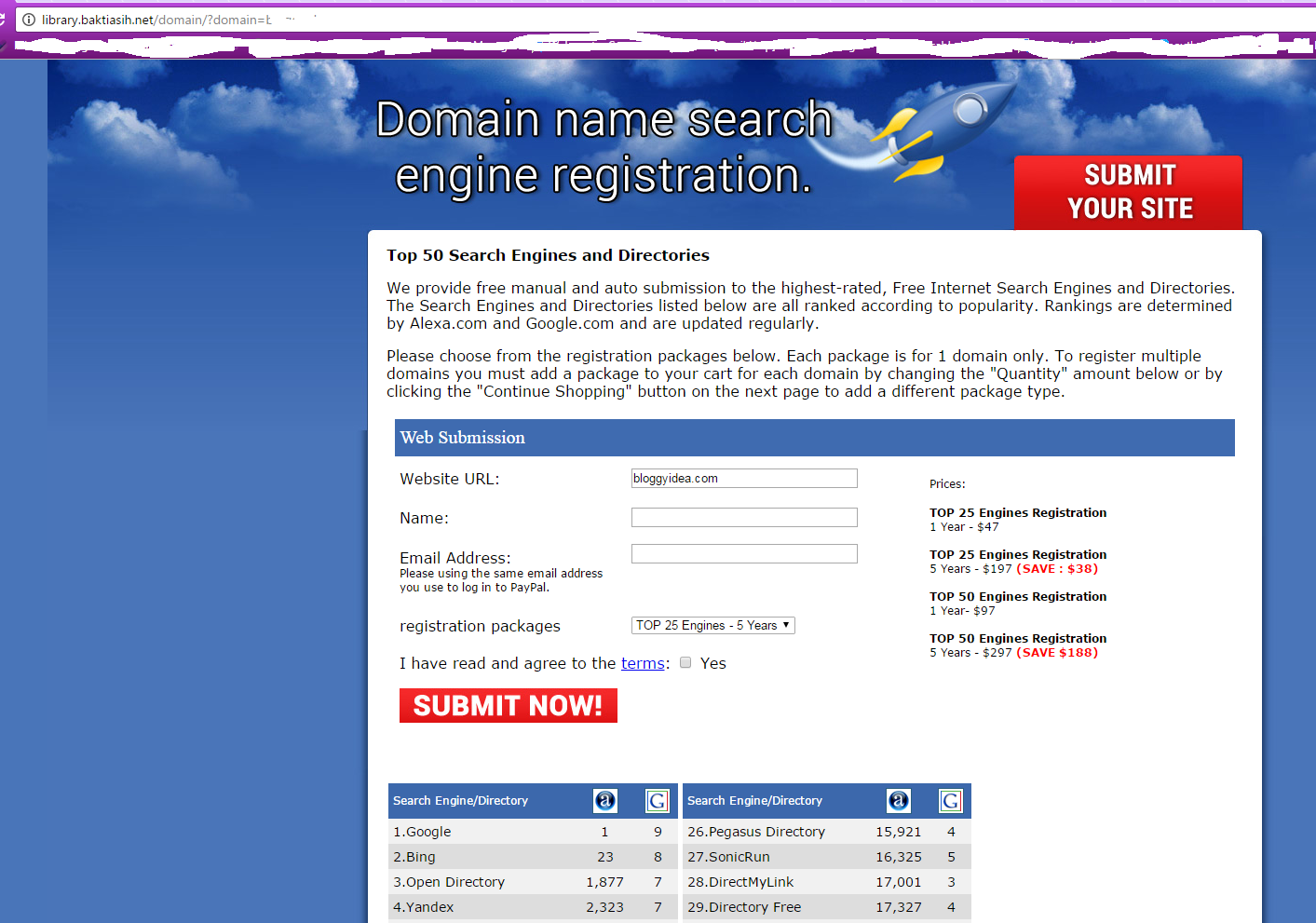 Landing page for the domain registrar scam wants to sell you fraudulent SEO services