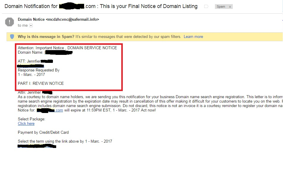 Scam domain registration private information wrong